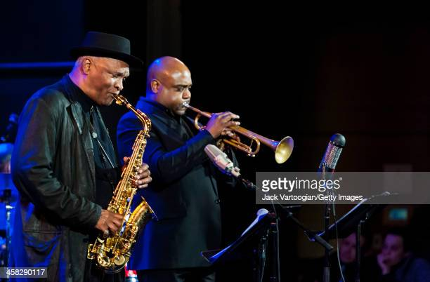 American Jazz musician Bobby Watson plays alto saxophone as he leads his band Horizon, including Terell Stafford on trumpet, at Dizzy's Club...