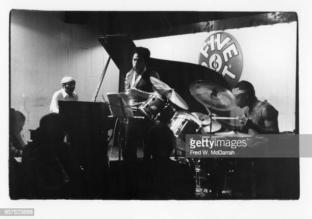 American Jazz musician Cecil Taylor plays piano as he leads his trio during a performance at the Five Spot nightclub New York New York April 18 1975...