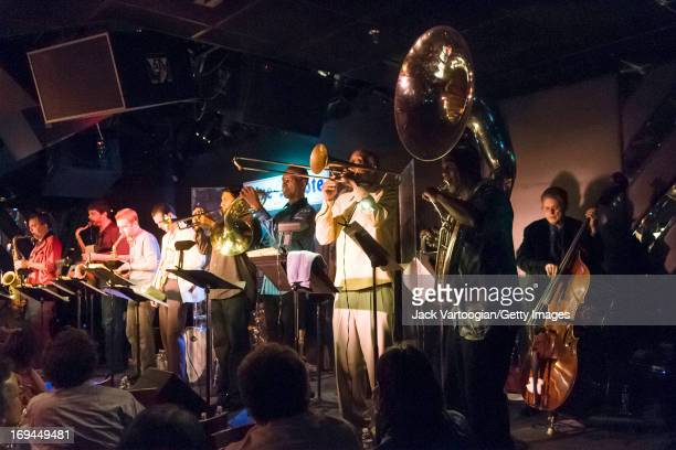 American jazz musician Charlie Haden on upright acoustic bass leads the Liberation Music Orchestra at the Blue Note New York New York November 6 2008...