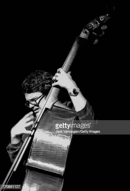 American jazz musician Charlie Haden plays upright acoustic bass with Keith Jarrett's band during the Schaefer Music Festival at Central Park's...