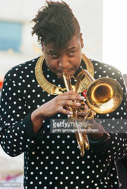 American jazz musician Christian Scott on trumpet during a performance with New Orleans' Preservation Hall Jazz Band on the Carhartt Amphitheatre...