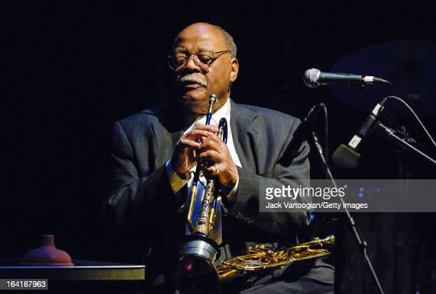 American jazz musician Clark Terry plays trumpet and flluegelhorn during a performance at the Jack Kleinsinger's Highlights in Jazz 'Salute to Jimmy...
