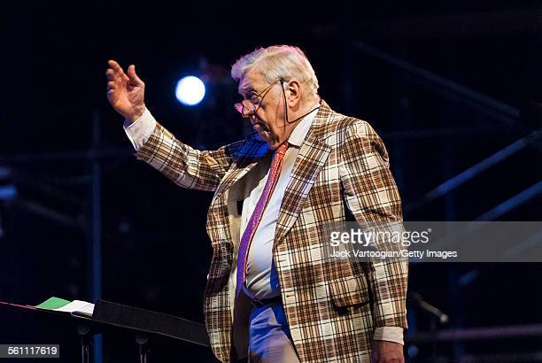American Jazz musician composer and scholar Gunther Schuller conducts the Mingus Orchestra at the Lincoln Center Out of Doors 'Happy Birthday...
