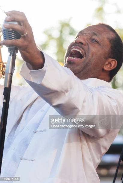 American jazz musician Donald Harrison on vocals and alto saxophone during a guest performance with New Orleans' Preservation Hall Jazz Band on the...