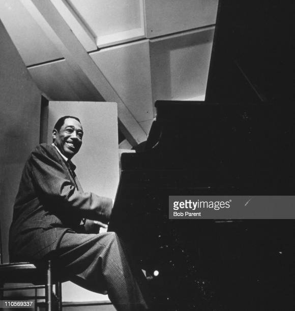 American jazz musician Duke Ellington performing at the Newport Jazz Festival, Rhode Island, 7th July 1956.