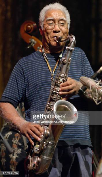 American Jazz musician Edward 'Kidd' Jordan performs on tenor saxophone during the 'Vision for New Orleans Artists' Benefit for Hurricane Katrina...