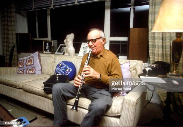 American jazz musician enny Goodman playing his clarient in a Manhattan Flat 21st Jan 1978