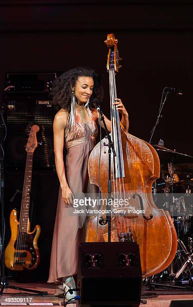 American Jazz musician Esperanza Spalding plays upright acoustic bass during a performance at the 'Dianne Reeves and Friends' concert at Carnegie...
