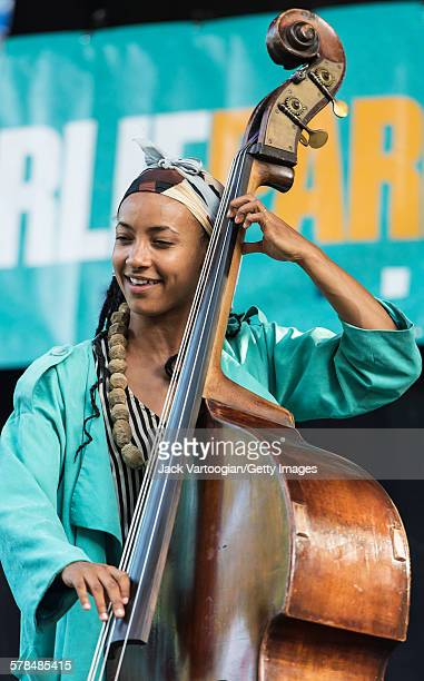 American Jazz musician Esperanza Spalding plays upright acoustic bass with the Joe Lovano Quartet on the third and final day of the 23rd Annual...
