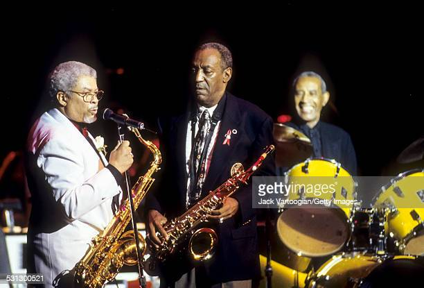 American Jazz musician Frank Foster and comedian Bill Cosby both with tenor saxophones perform with the Count Basie Orcbestra at the 'A Tribute to...
