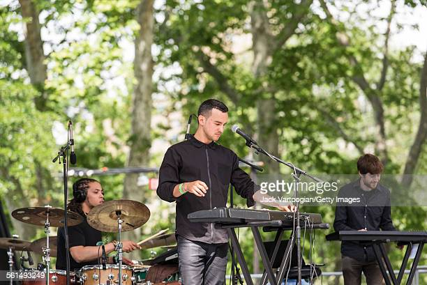 American Jazz musician Gabriel Garzon-Montano performs onstage with his quartet during the Blue Note Jazz Festival at Central Park SummerStage, New...