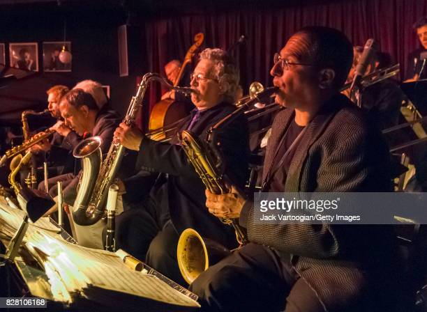 American Jazz musician Gary Smulyan plays baritone saxophone as he performs with the Vanguard Jazz Orchestra during the band's 40th Anniversary...
