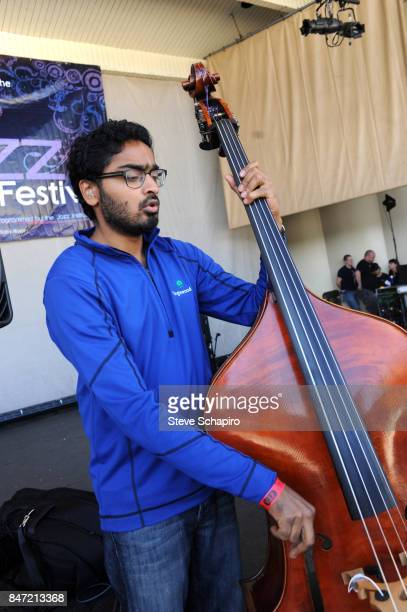 American Jazz musician Harish Raghavan plays upright acoustic bass as he performs onstage during a soundcheck before the Chicago Jazz Festival in...