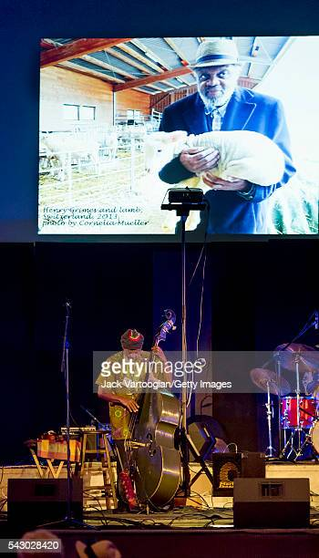 American Jazz musician Henry Grimes plays upright acoustic bass as he leads his quartet during at the 'Celebrating Henry Grimes' Lifetime of...