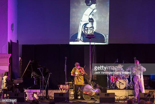American Jazz musician Henry Grimes plays violin as he leads his quartet during at the 'Celebrating Henry Grimes' Lifetime of Achievement' concert on...