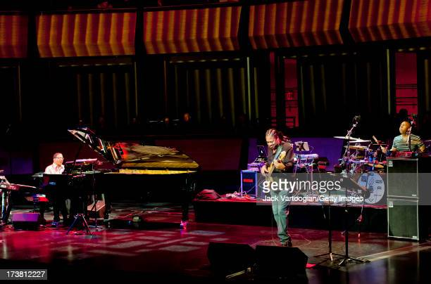 American Jazz musician Herbie Hancock on Fazioli grand piano and Korg Kronos synthesizer leads his Trio with James Genus on electric bass guitar and...