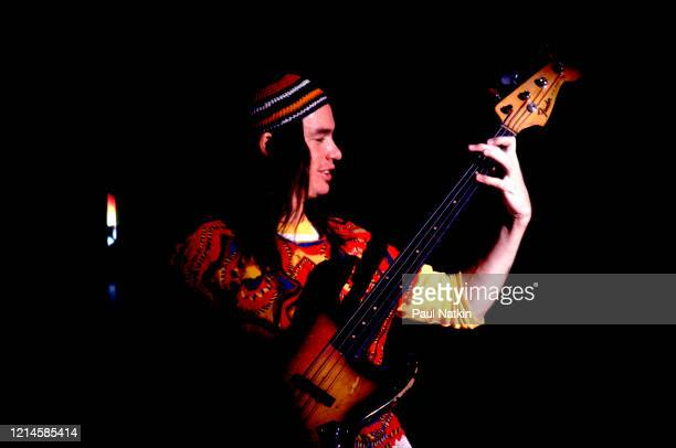 American Jazz musician Jaco Pastorius , of the group Weather Report, plays bass as he performs onstage at the Auditorium Theater, Chicago, Illinois,...