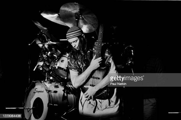 American Jazz musician Jaco Pastorius , of the group Weather Report, performs onstage at the Park West, Chicago, Illinois, November 16, 1978.