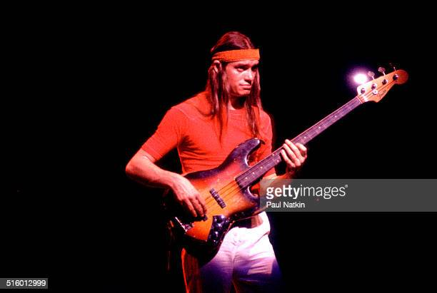American jazz musician Jaco Pastorius plays guitar as he performs onstage, Chicago, Illinois, June 21, 1988.
