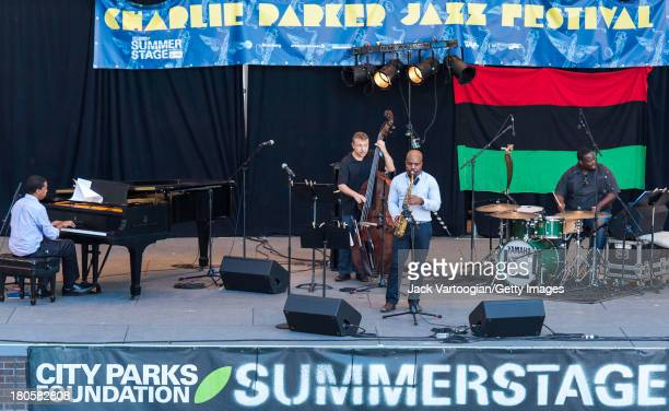 American Jazz musician Jaleel Shaw on alto saxophone leads his Quartet with Lawrence Fields on piano Boris Kozlov on upright acoustic bass and...
