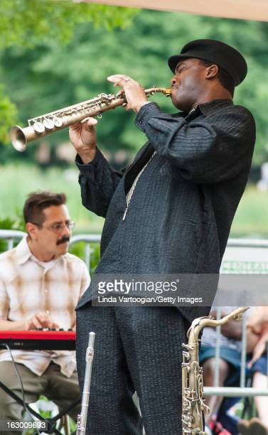 American jazz musician James Carter on tenor saxophone leads his Quartet at Central Park's Harlem Meer, New York, New York, July 1, 2007.