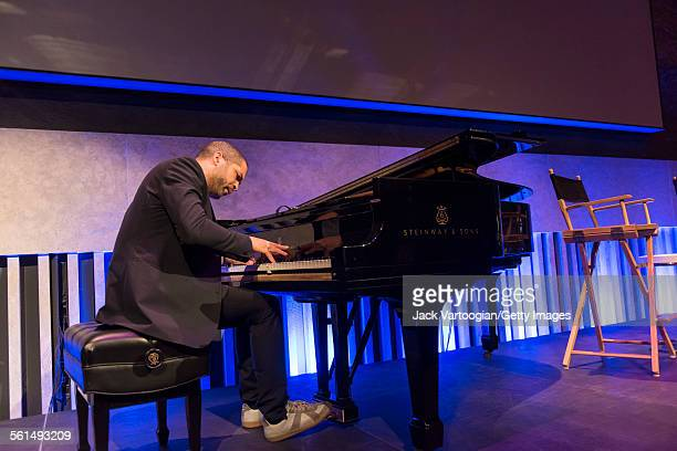 American Jazz musician Jason Moran plays piano in the David Rubenstein Atrium at Lincoln Center New York New York June 4 2015 He appeared for a brief...