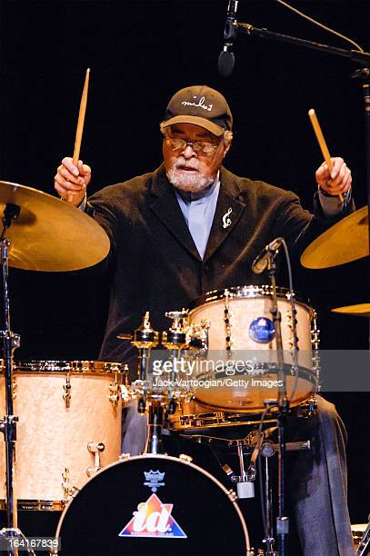 American jazz musician Jimmy Cobb plays drums as he leads his band Cobb's Mob during a performance at the Jack Kleinsinger's Highlights in Jazz...