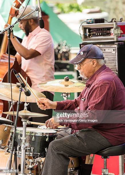 American Jazz musician Jimmy Cobb plays drums as he performs with the Roy Hargrove Quintet during the Blue Note Jazz Festival at Central Park...
