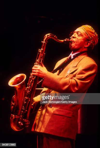 American jazz musician Jimmy Heath performs on tenor saxophone at the Jazz at Lincoln Center 'Prelude to a Kiss Jazz for Valentine' concert at Alice...