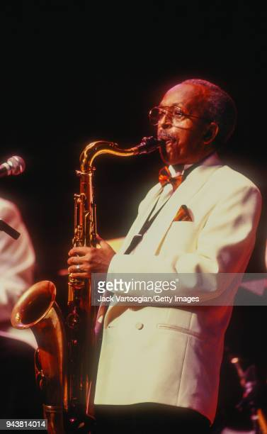 American jazz musician Jimmy Heath performs on tenor saxophone at the Jazz at Lincoln Center tribute concert to him entitled 'Tenor on Top' at Alice...