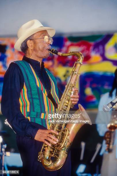 American jazz musician Jimmy Heath performs on tenor saxophone at the 9th Annual Charlie Parker Jazz Festival in Marcus Garvey Park in Harlem New...