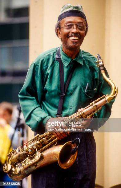 American jazz musician Jimmy Heath performs on tenor saxophone with his Quartet in the Ford Foundation Jazz series in Bryant Park New York New York...