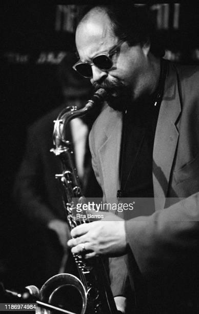 American Jazz musician Joe Lovano plays saxophone as he performs onstage at Birdland nightclub New York New York April 17 1998
