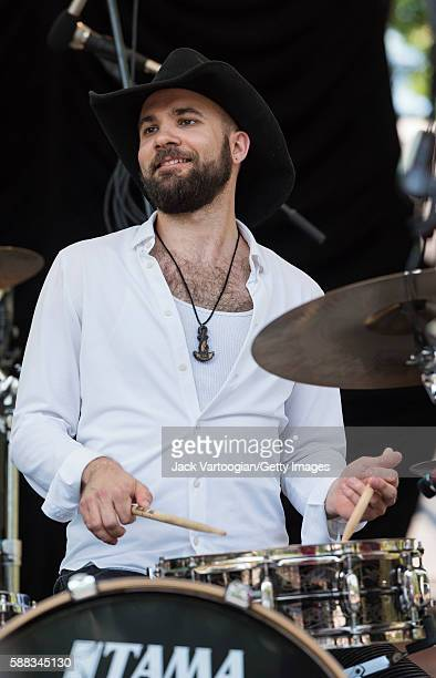 American Jazz musician Joe Saylor plays drums with Bria Skonberg the NY Hot Jazz Festival AllStars at Central Park SummerStage New York New York June...