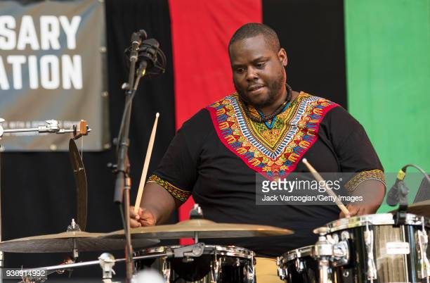 American Jazz musician Johnathan Blake plays drums as he performs with the Charenee Wade Quintet at the third of four concerts in the 25th Annual...