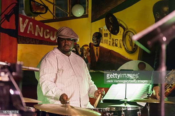 American Jazz musician Johnathan Blake plays drums during the second set of a performance with the Tom Harrell Quintet at the Village Vanguard New...