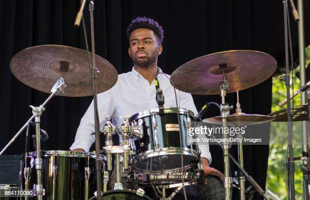 American Jazz musician Jonathan Barber plays drums as he performs with Alicia Olatuja's band on the final day of the 25th Annual Charlie Parker Jazz...