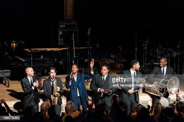 American Jazz musician Jonathan Batiste leads his band Stay Human during a Joyce and George Wein Foundation series 'The Shape of Jazz' concert in...
