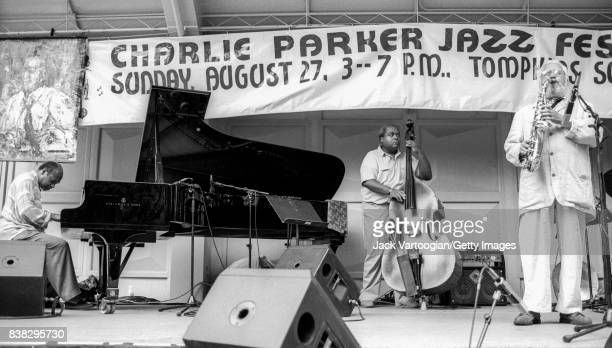 American Jazz musician Kenny Barron plays piano as he leads his trio during a performance at the 3rd Annual Charlie Parker Jazz Festival in Tompkins...
