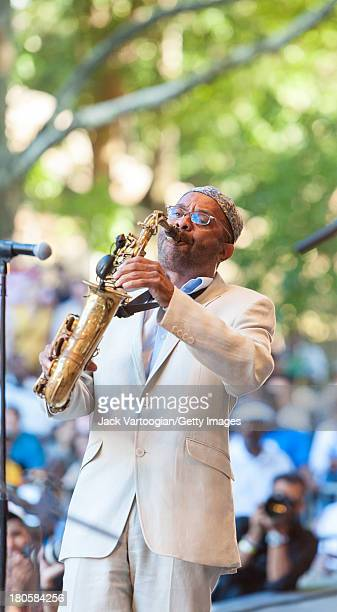 American Jazz musician Kenny Garrett leads his Quintet from the alto saxophone at the 21st Annual Charlie Parker Jazz Festival in the Richard Rodgers...