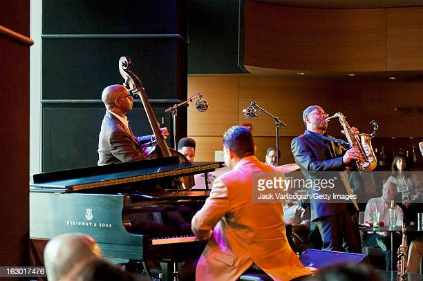 American jazz musician Kenny Garrett, on alto saxophone, leads his quartet at Dizzy's Club Coca-Cola, Jazz at Lincoln Center, New York, New York,...