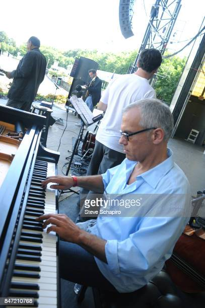 American Jazz musician Laurence Hobgood plays piano as he performs onstage during a soundcheck before the Chicago Jazz Festival in Grant Park Chicago...