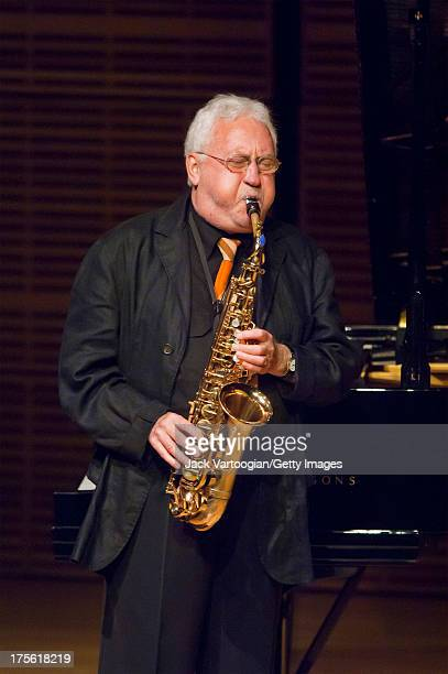 American Jazz musician Lee Konitz performs on alto saxophone at the JVC Jazz Festival 'New York' concert 'Lee Konitz's Beautiful 80th Birthday Party'...