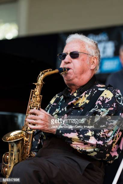 American Jazz musician Lee Konitz plays alto saxophone as he leads his quartet during a performance at the 25th Annual Charlie Parker Jazz Festival...