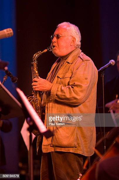 American Jazz musician Lee Konitz plays saxophone as he performs onstage during the Chicago Jazz Festival at Grant Park's Petrillo bandshell Chicago...