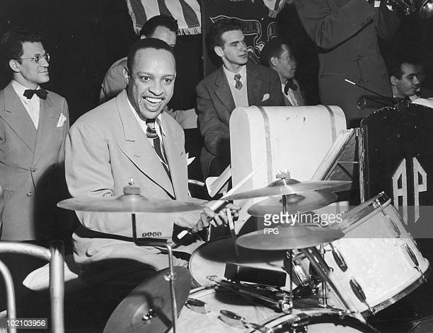 American jazz musician Lionel Hampton attends a jam session at the Manhattan Center in New York City with other famous bandleaders circa 1948