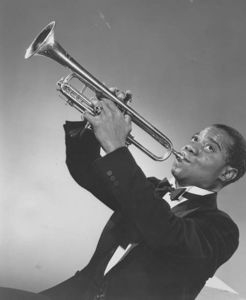 Louis Armstrong Blowing Horn