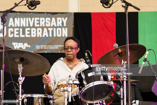 American Jazz musician Louis Hayes plays drums as he leads his quintet during a performance at the 25th Annual Charlie Parker Jazz Festival in...