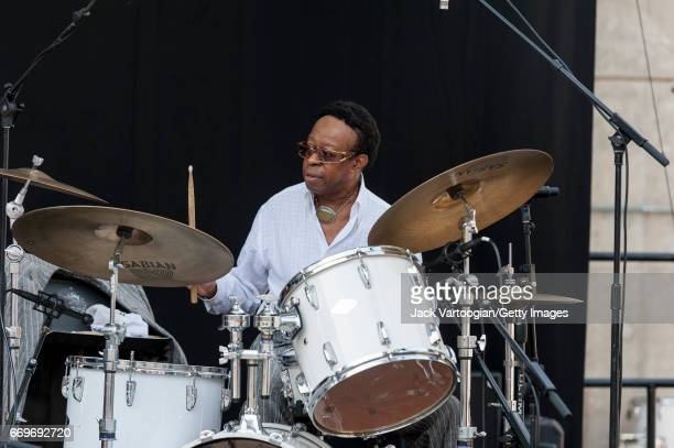 American Jazz musician Louis Hayes plays drums as he leads his band, the Jazz Communicators, on the Absopure Pyramid Stage at the Detroit Jazz...
