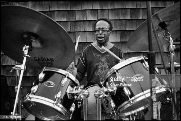 American Jazz musician Louis Hayes plays drums as he performs during an outdoor concert at Lyndhurst Estate, Tarrytown, New York, August 2011.